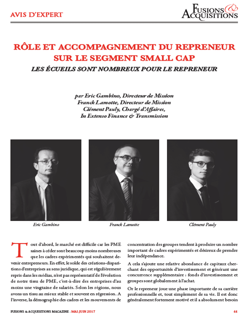Nos experts In Extenso Finance & Transmission dans le magazine Fusions & Acquisitions Magazine n°291